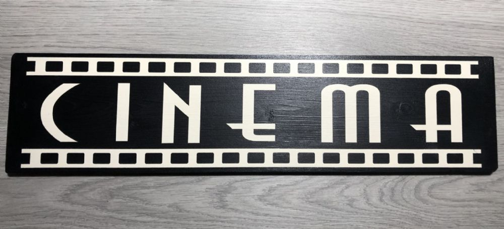 CINEMA Sign Vintage ANTIQUE STYLE TV ROOM PLAQUE WOODEN